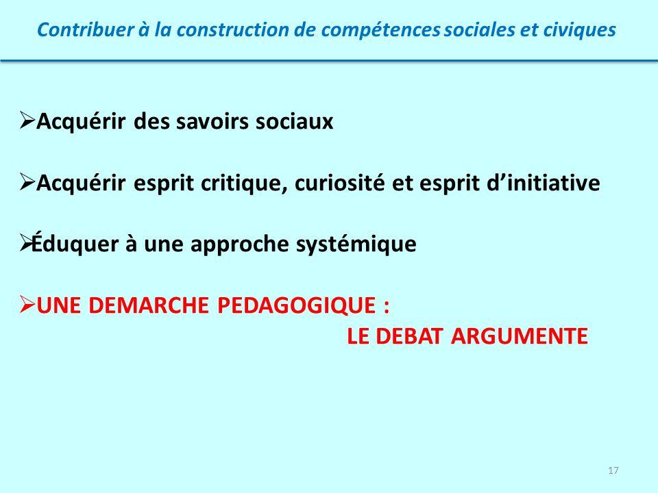 Contribuer à la construction de compétences sociales et civiques