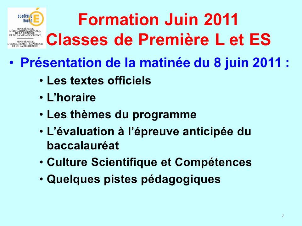Formation Juin 2011 Classes de Première L et ES