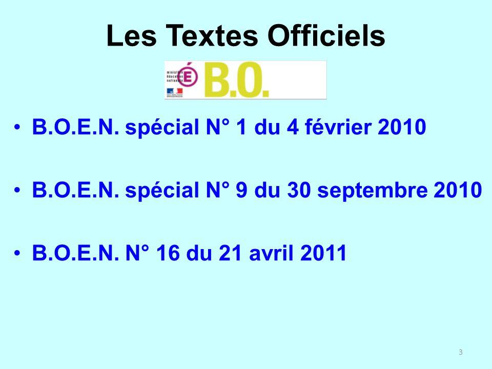 Les Textes Officiels B.O.E.N. spécial N° 1 du 4 février 2010