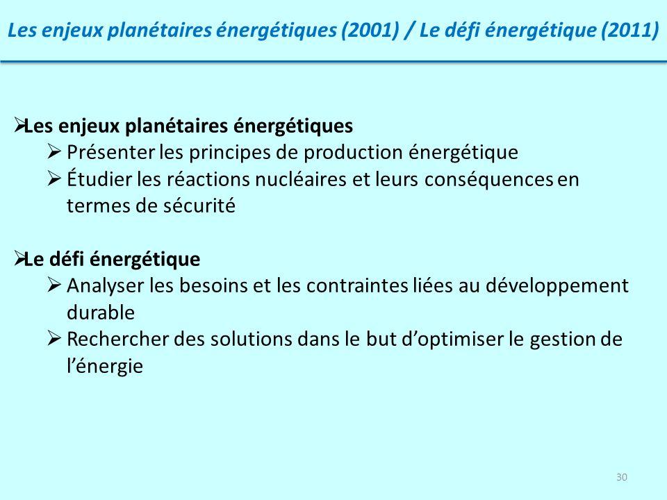 Les enjeux planétaires énergétiques (2001) / Le défi énergétique (2011)