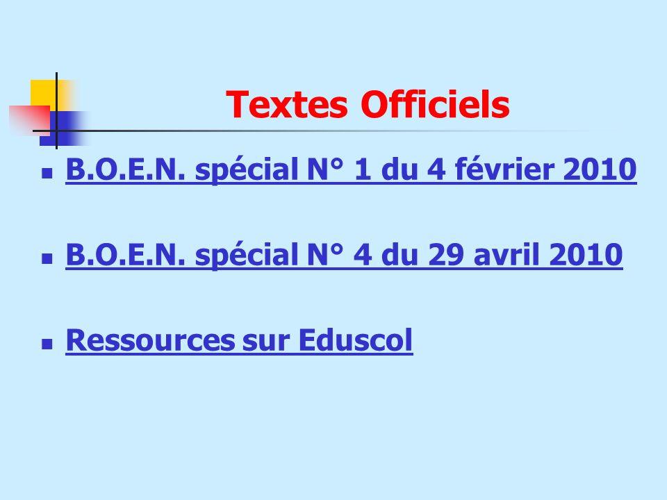 Textes Officiels B.O.E.N. spécial N° 1 du 4 février 2010
