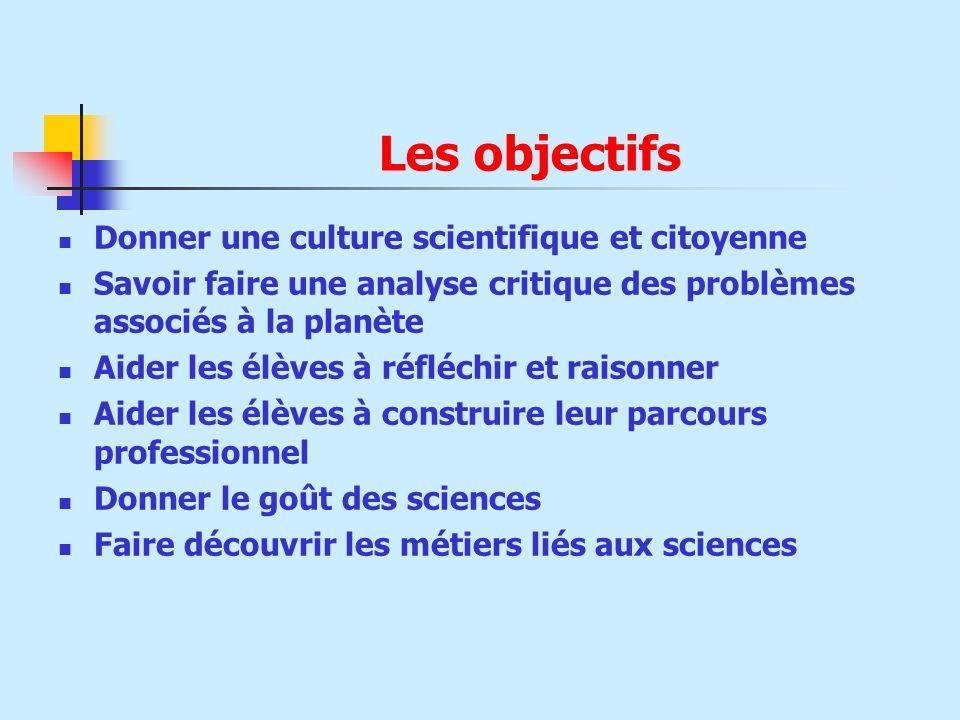 Les objectifs Donner une culture scientifique et citoyenne