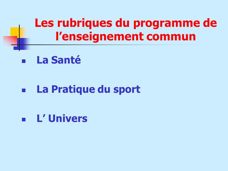Les rubriques du programme de l'enseignement commun