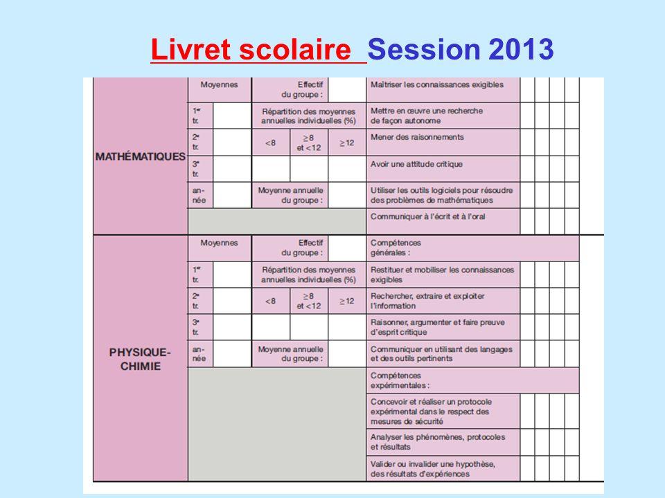 Livret scolaire Session 2013