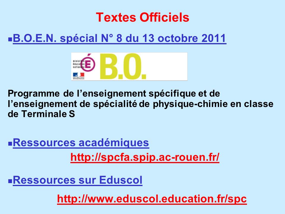 Textes Officiels B.O.E.N. spécial N° 8 du 13 octobre 2011