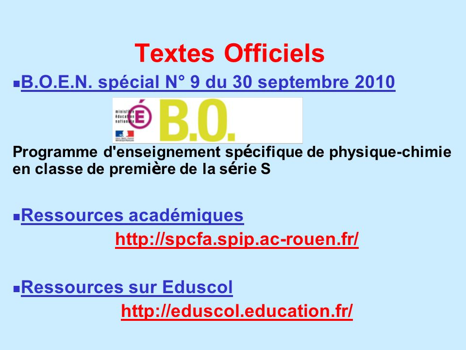 Textes Officiels B.O.E.N. spécial N° 9 du 30 septembre 2010