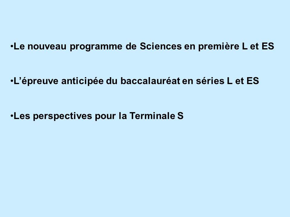 Le nouveau programme de Sciences en première L et ES