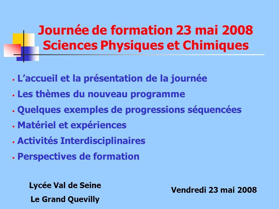 Journée de formation 23 mai 2008 Sciences Physiques et Chimiques