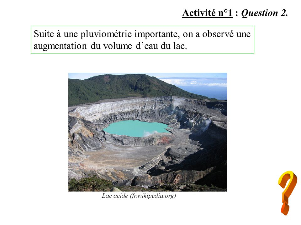 Activité n°1 : Question 2. Suite à une pluviométrie importante, on a observé une augmentation du volume d'eau du lac.