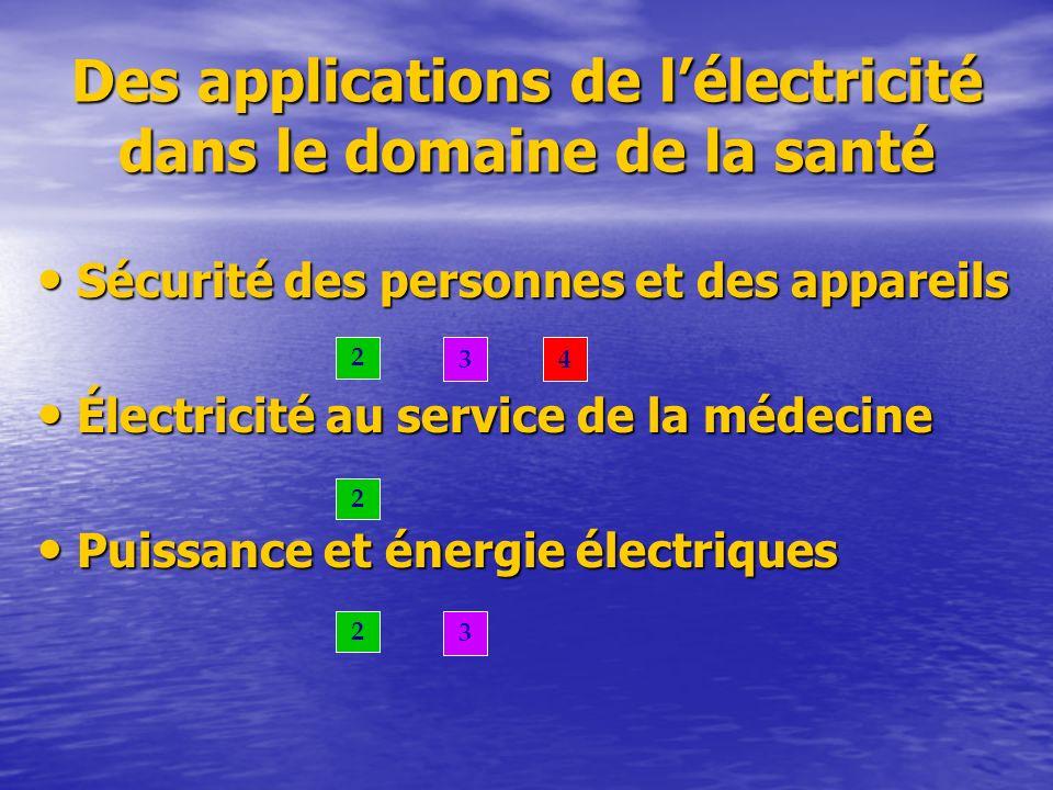 Des applications de l'électricité dans le domaine de la santé