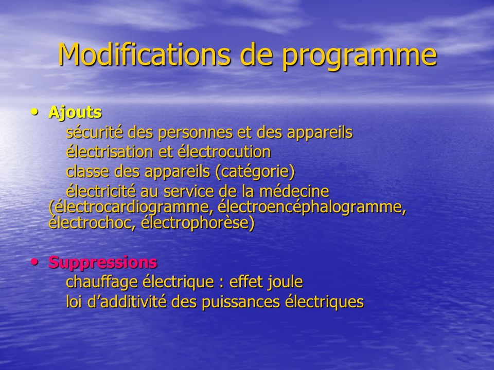 Modifications de programme