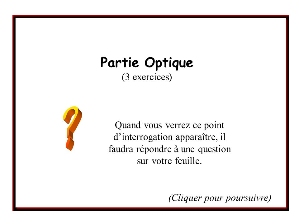 Partie Optique (3 exercices)