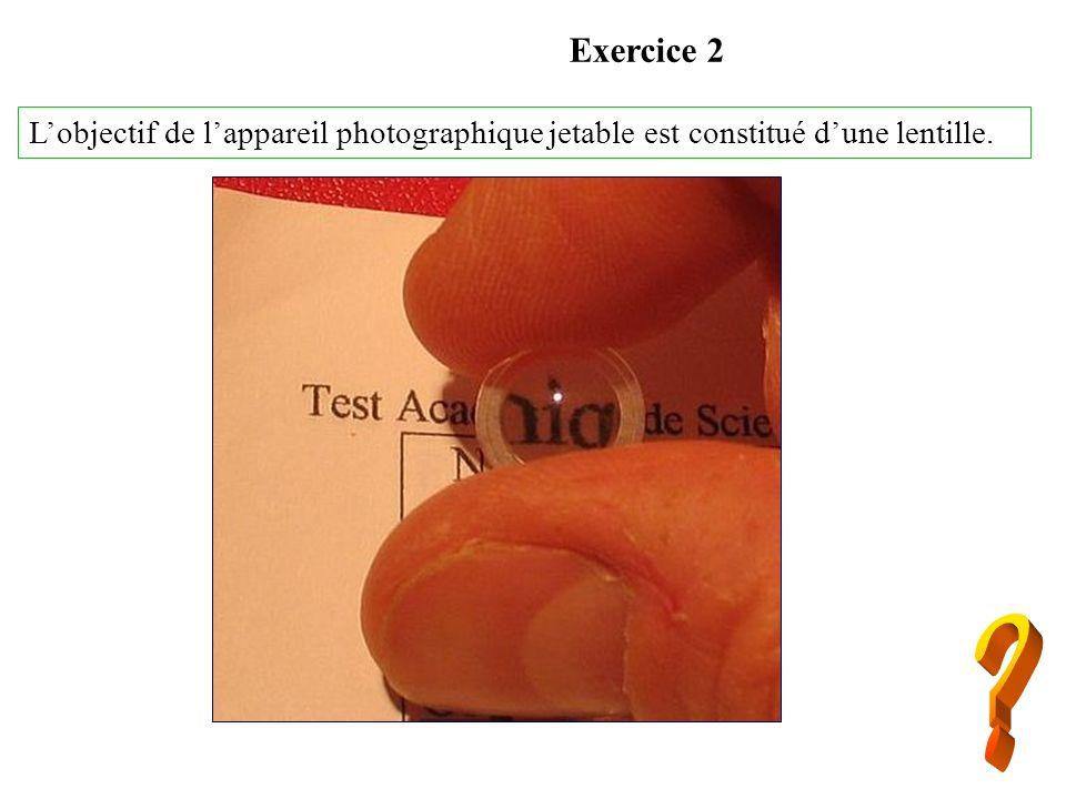 Exercice 2 L'objectif de l'appareil photographique jetable est constitué d'une lentille.