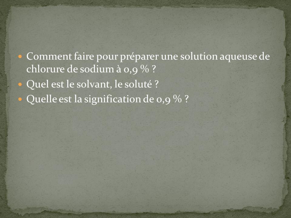 Comment faire pour préparer une solution aqueuse de chlorure de sodium à 0,9 %