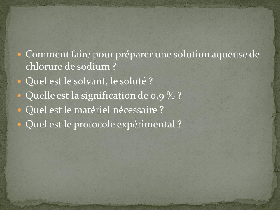 Comment faire pour préparer une solution aqueuse de chlorure de sodium