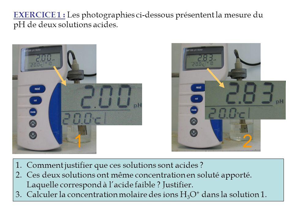 EXERCICE 1 : Les photographies ci-dessous présentent la mesure du pH de deux solutions acides.