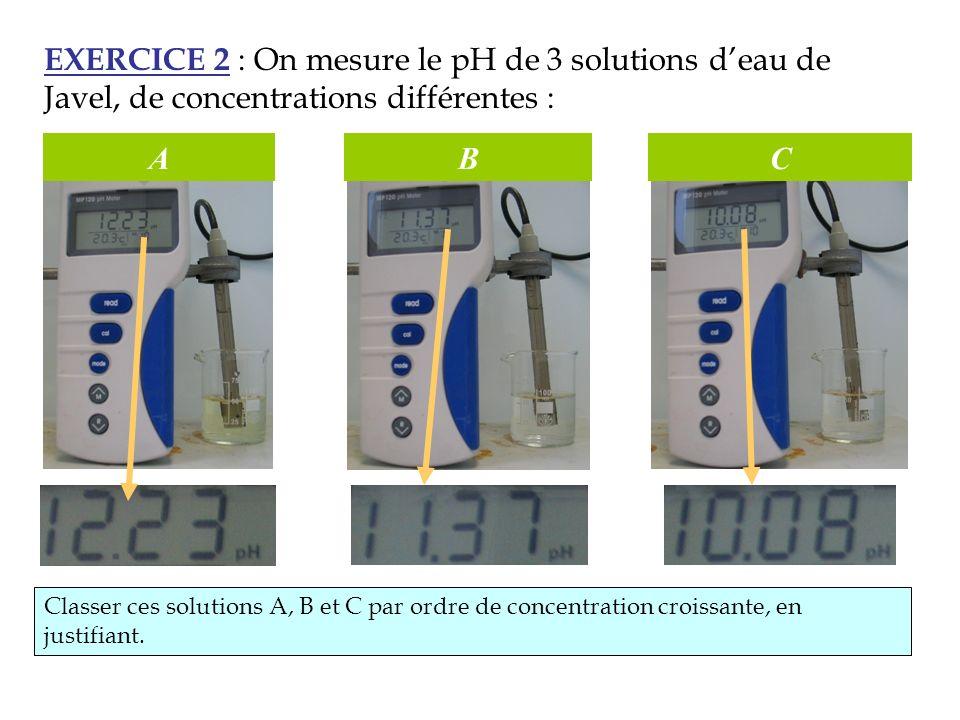 EXERCICE 2 : On mesure le pH de 3 solutions d'eau de Javel, de concentrations différentes :