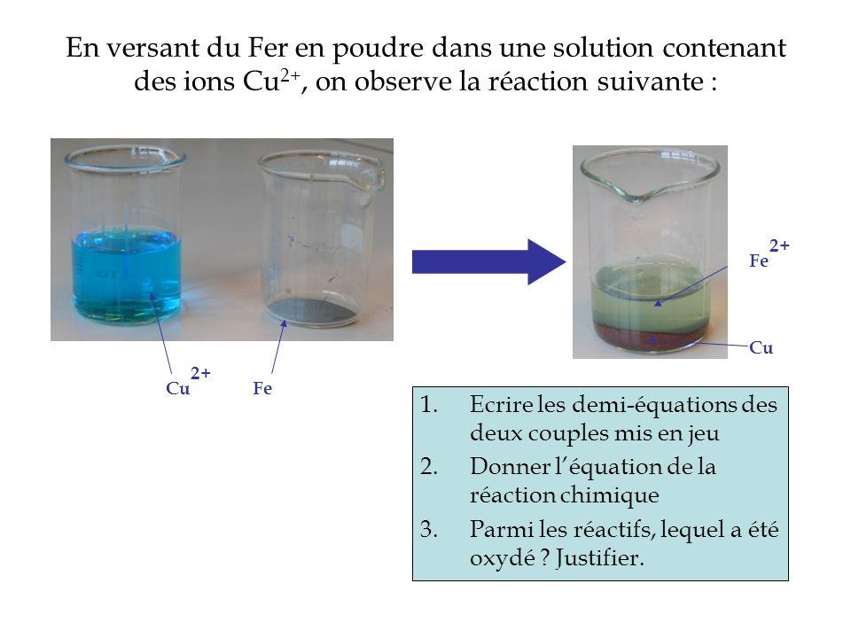 En versant du Fer en poudre dans une solution contenant des ions Cu2+, on observe la réaction suivante :