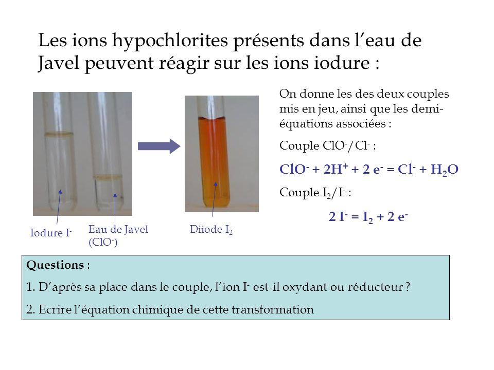 Les ions hypochlorites présents dans l'eau de Javel peuvent réagir sur les ions iodure :