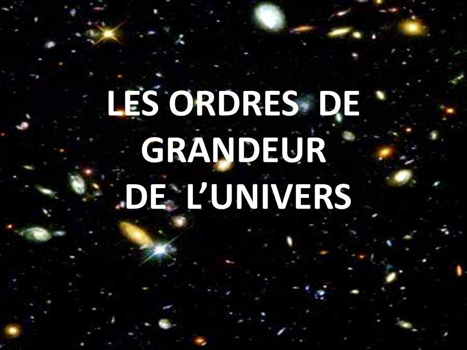 LES ORDRES DE GRANDEUR DE L'UNIVERS