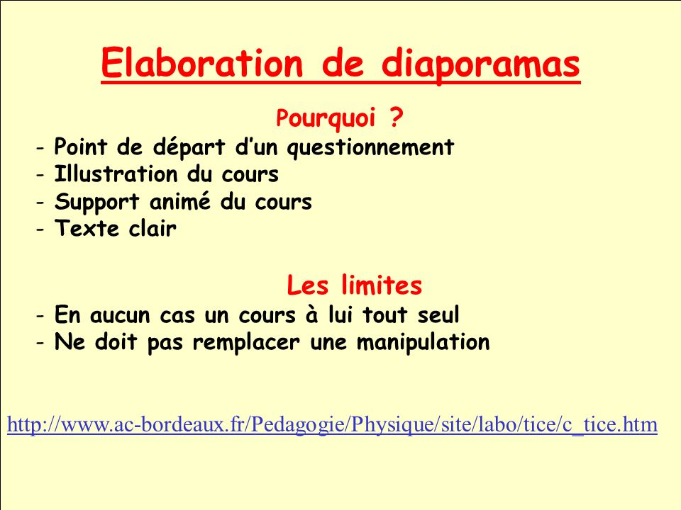 Elaboration de diaporamas