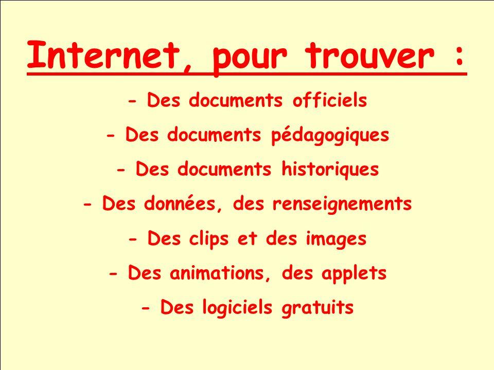 Internet, pour trouver :