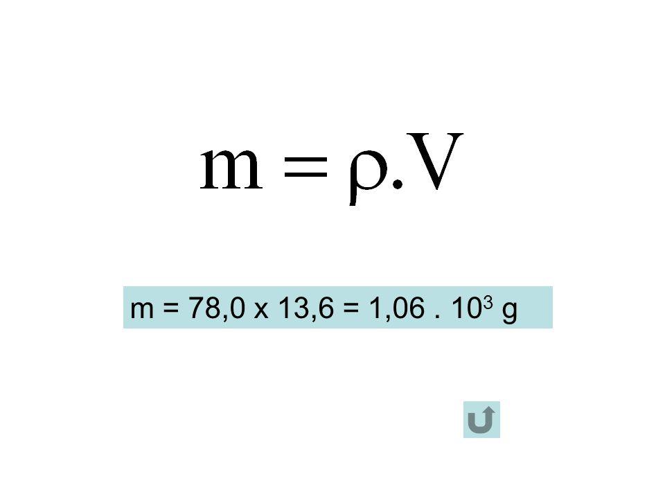 m = 78,0 x 13,6 = 1,06 . 103 g