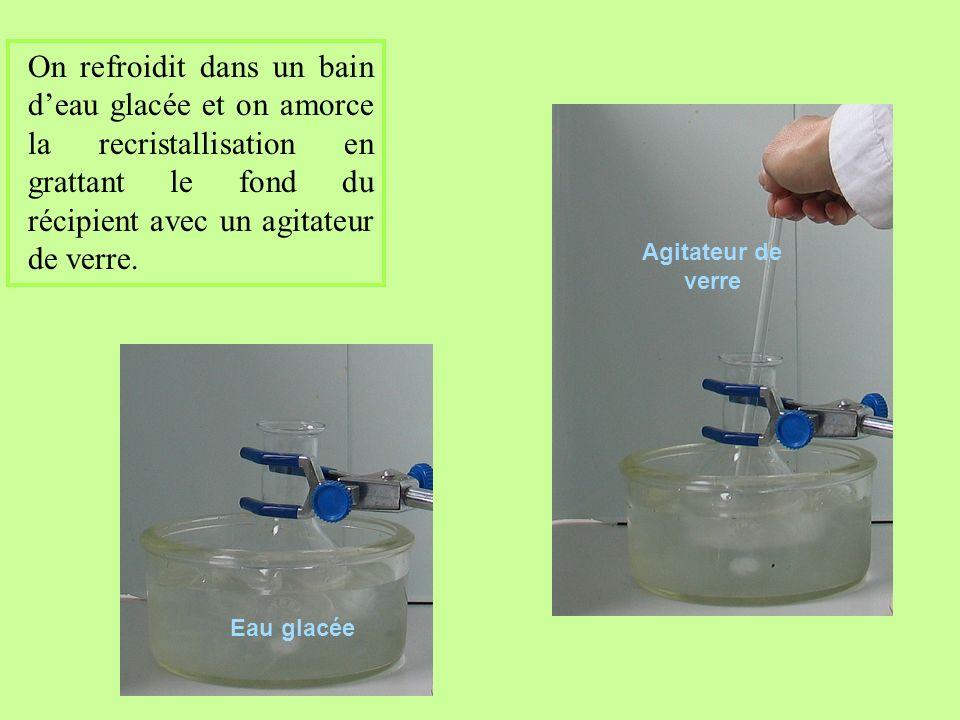 On refroidit dans un bain d'eau glacée et on amorce la recristallisation en grattant le fond du récipient avec un agitateur de verre.