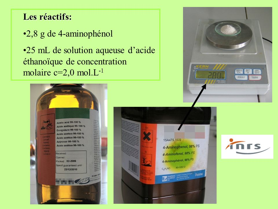Les réactifs:2,8 g de 4-aminophénol.