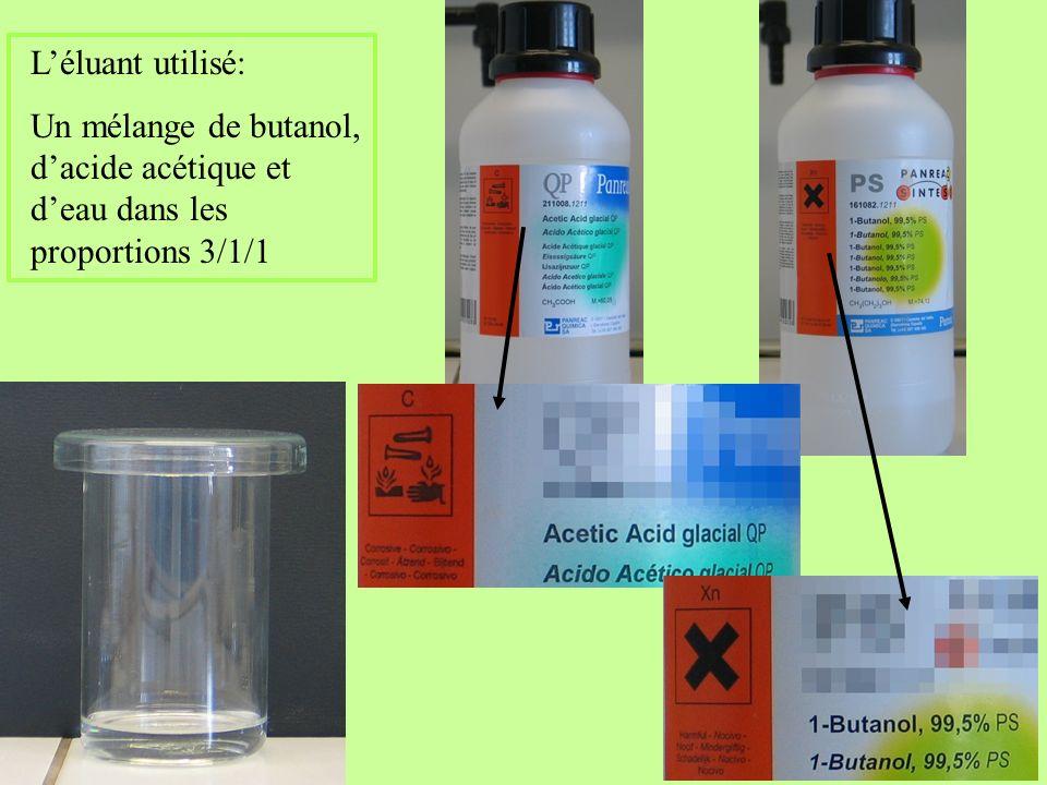 L'éluant utilisé: Un mélange de butanol, d'acide acétique et d'eau dans les proportions 3/1/1