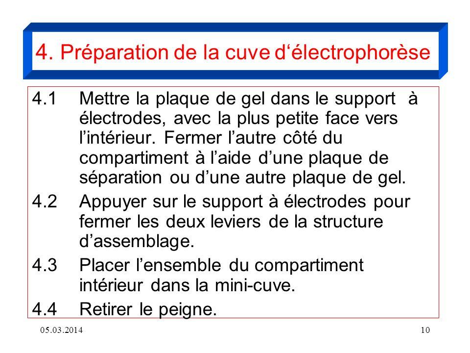 4. Préparation de la cuve d'électrophorèse