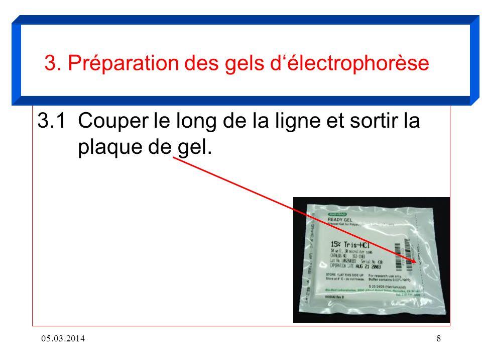 3. Préparation des gels d'électrophorèse