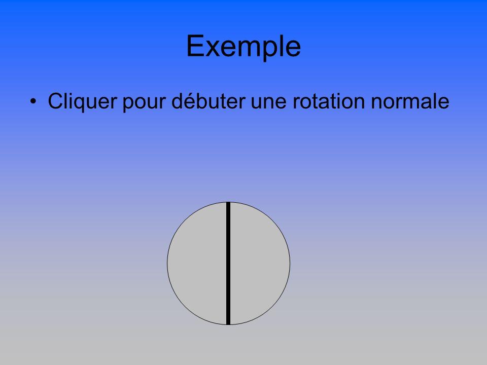 Exemple Cliquer pour débuter une rotation normale