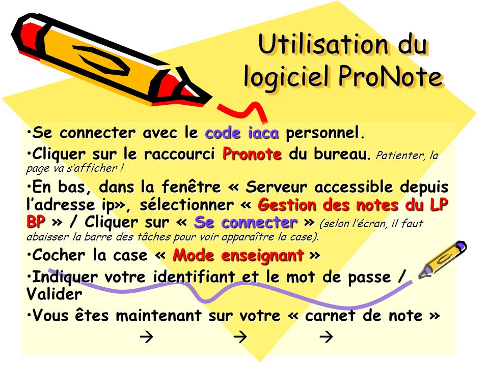 Utilisation du logiciel ProNote