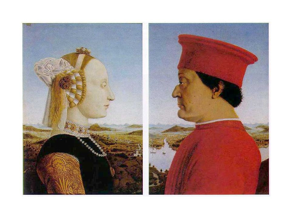 Piero delle Francesca, 1465: 2 Portraits de Federico de Montefeltre et de sa femme reliés par le fond paysage