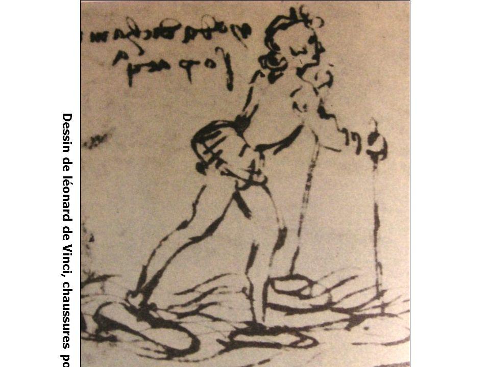 Dessin de léonard de Vinci, chaussures pour marcher sur l'eau