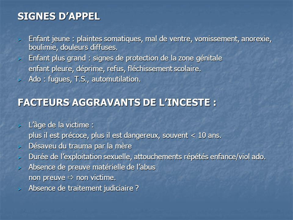 FACTEURS AGGRAVANTS DE L'INCESTE :