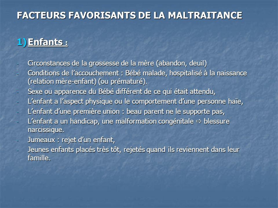 FACTEURS FAVORISANTS DE LA MALTRAITANCE Enfants :