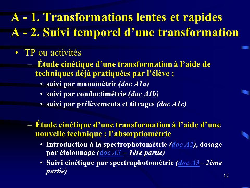A - 1. Transformations lentes et rapides A - 2