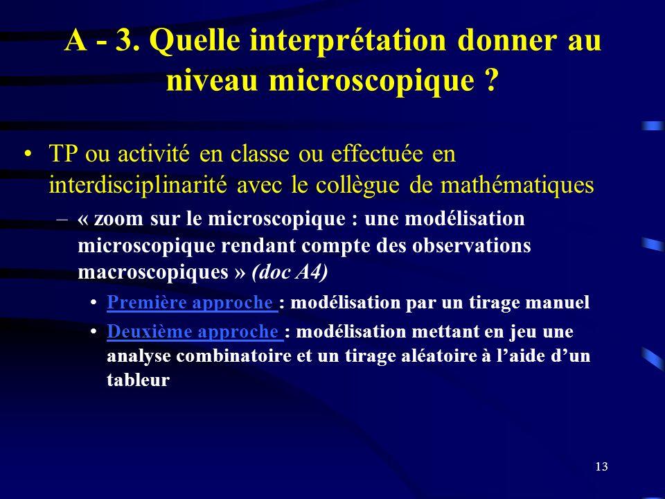 A - 3. Quelle interprétation donner au niveau microscopique