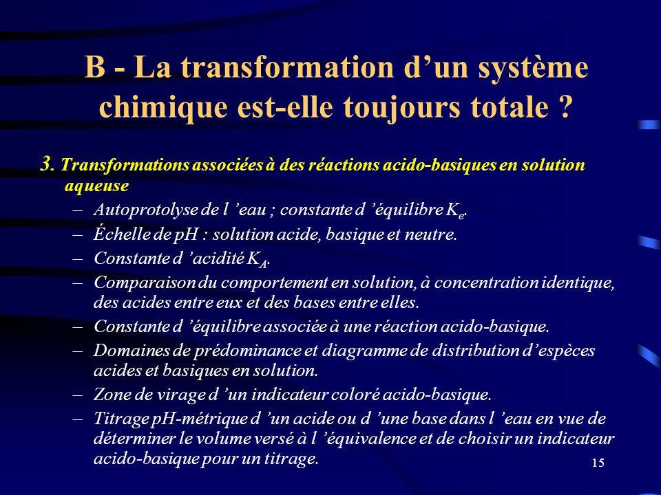 B - La transformation d'un système chimique est-elle toujours totale