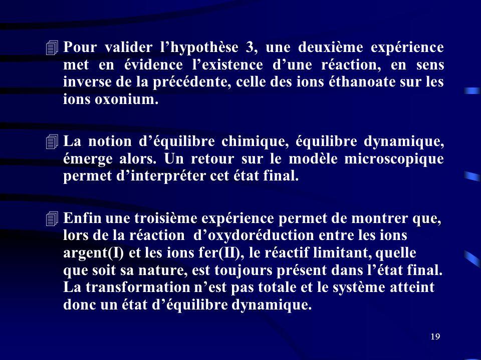 Pour valider l'hypothèse 3, une deuxième expérience met en évidence l'existence d'une réaction, en sens inverse de la précédente, celle des ions éthanoate sur les ions oxonium.