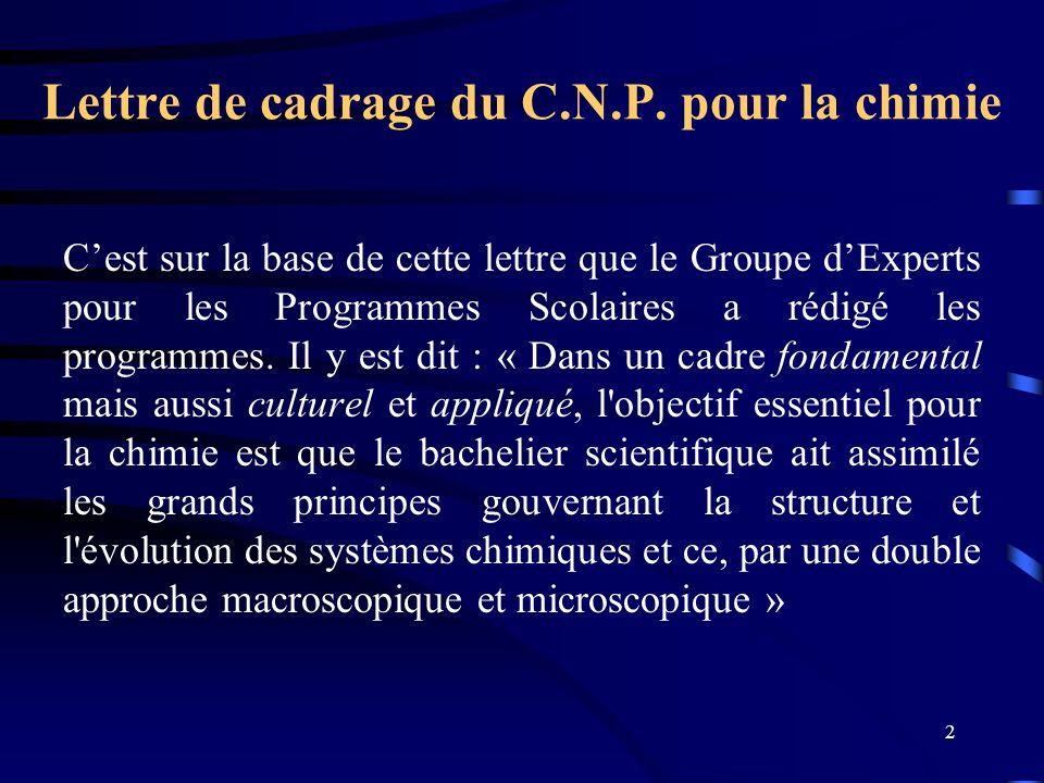 Lettre de cadrage du C.N.P. pour la chimie