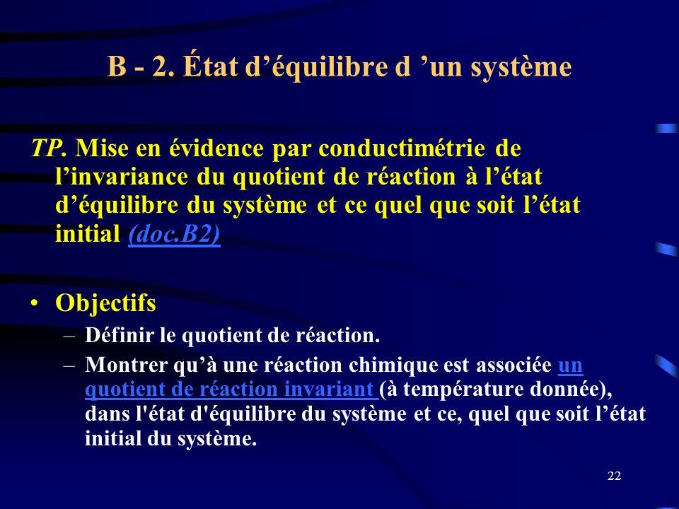 B - 2. État d'équilibre d 'un système