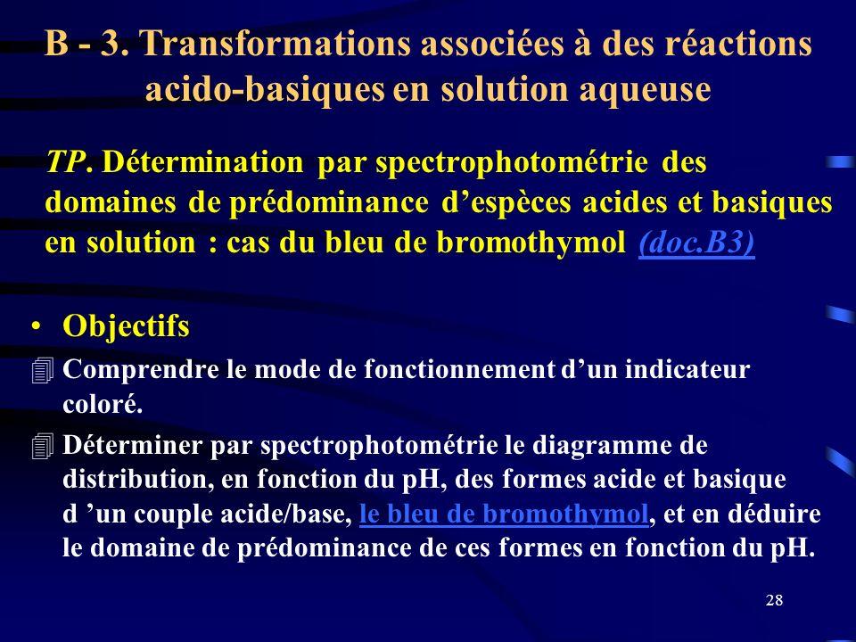 B - 3. Transformations associées à des réactions acido-basiques en solution aqueuse