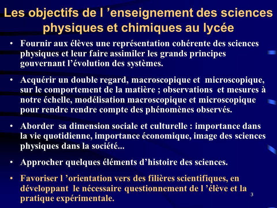 Les objectifs de l 'enseignement des sciences physiques et chimiques au lycée