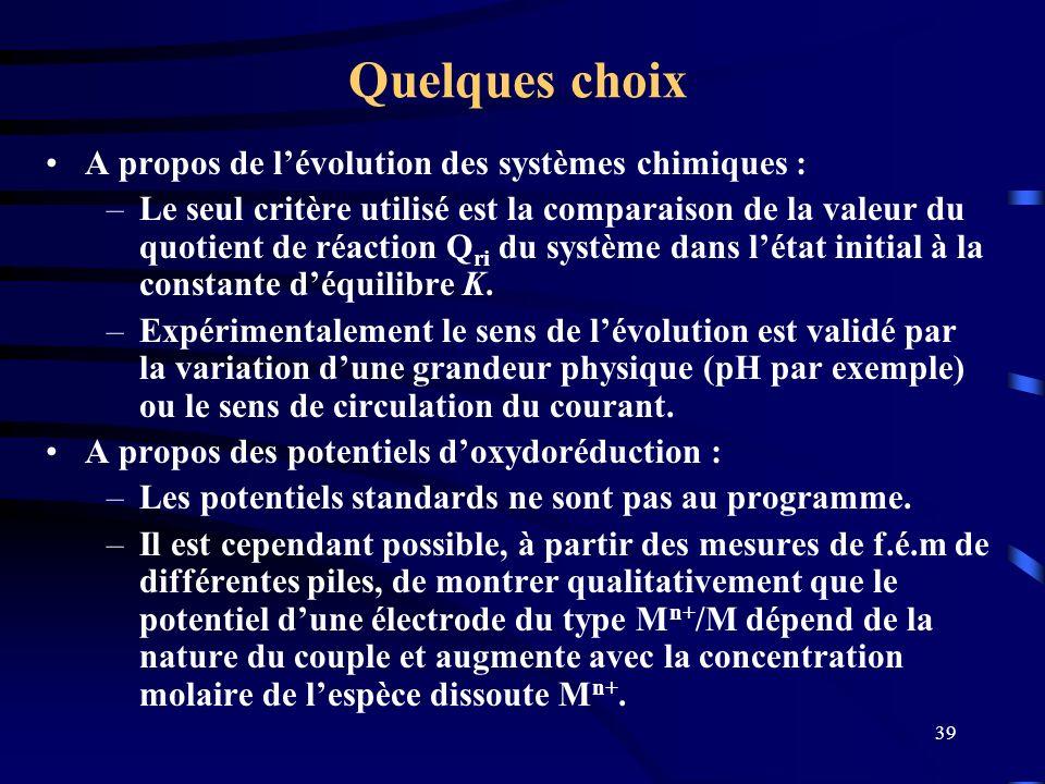 Quelques choix A propos de l'évolution des systèmes chimiques :