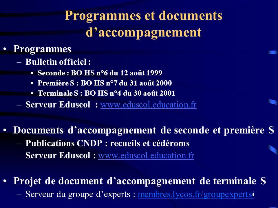 Programmes et documents d'accompagnement