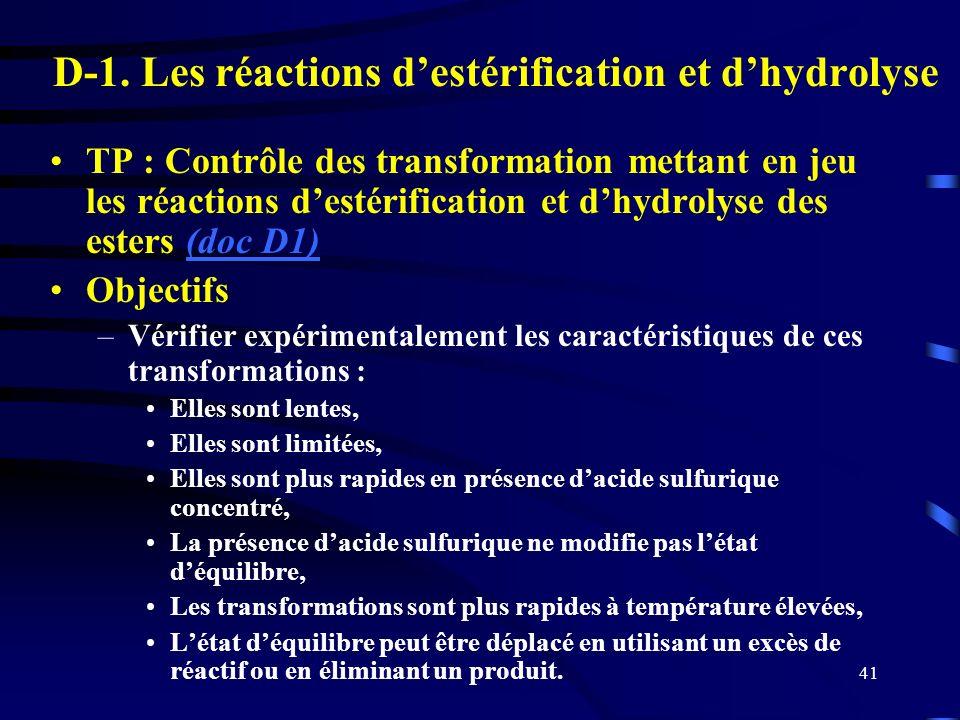 D-1. Les réactions d'estérification et d'hydrolyse