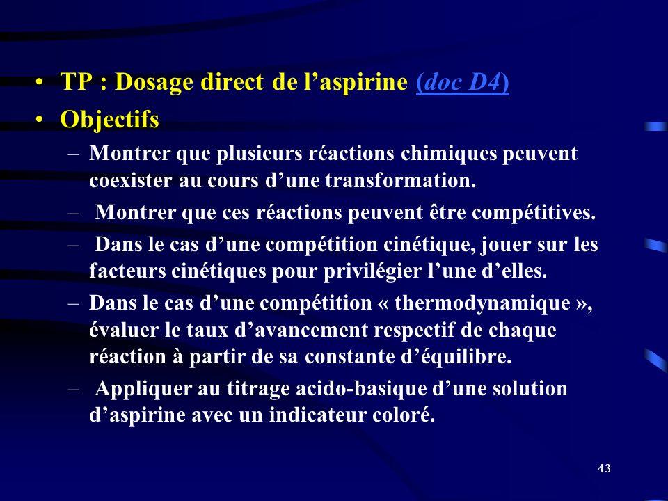 TP : Dosage direct de l'aspirine (doc D4) Objectifs